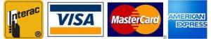 Accept Interact, Visa, Mastercard, and American Express